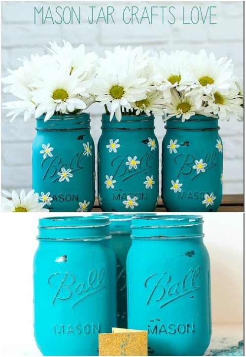 Hand Painted Daisy Mason Jars