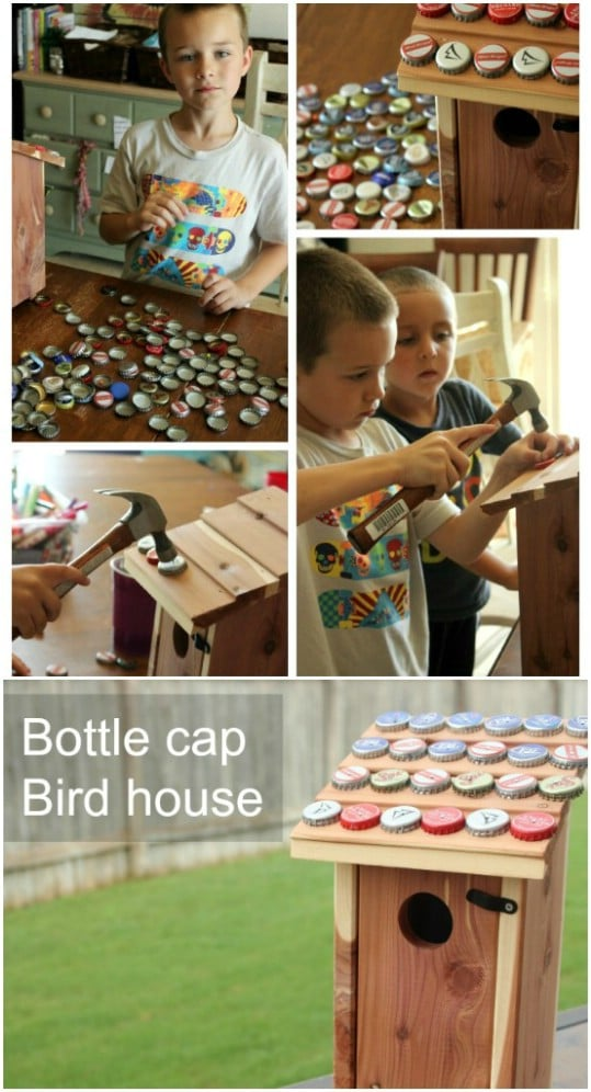Upcycled Bottle Cap Birdhouse