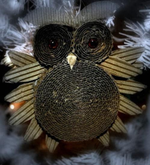 Rolled Cardboard Owl Ornament