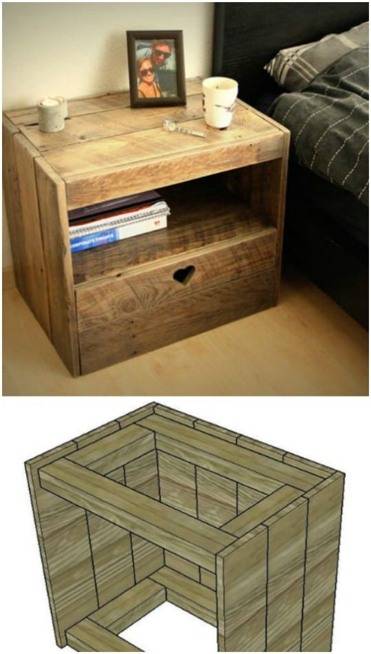 Upcycled Pallet Wood Nightstand