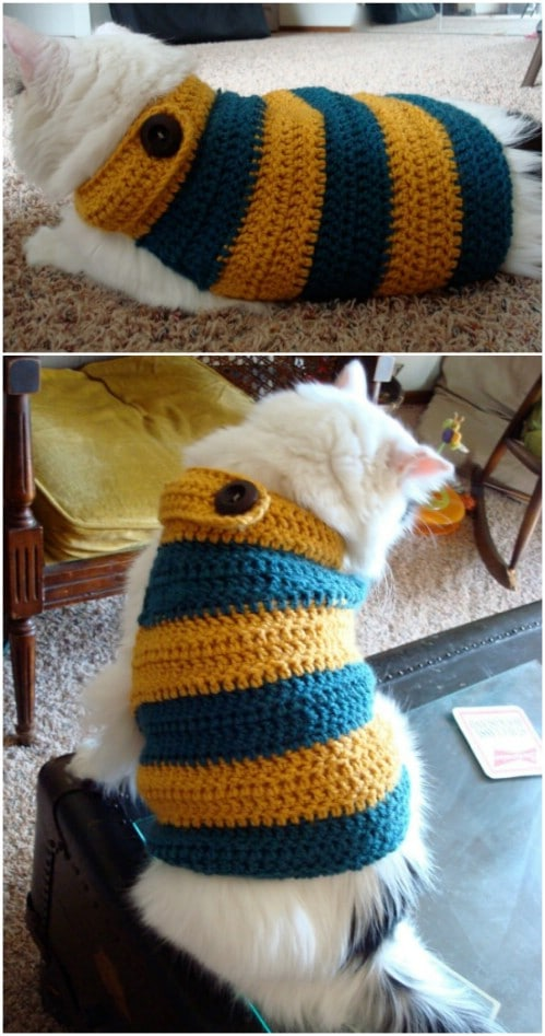 Banded Crochet Kitty Sweater