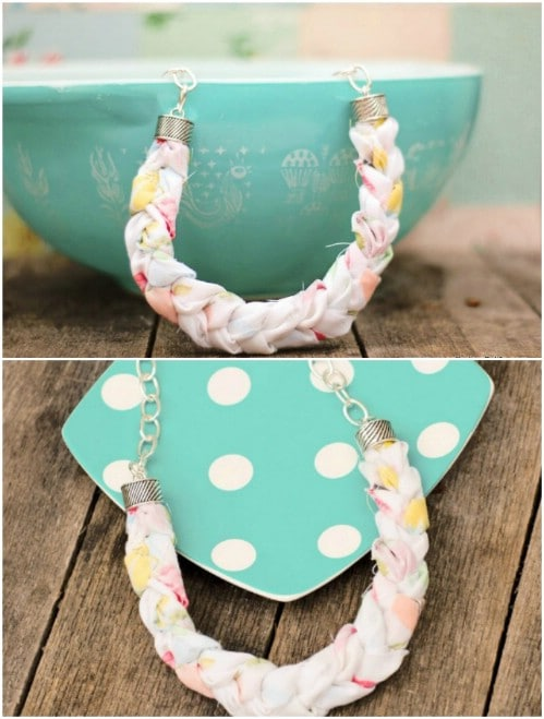 DIY Chunky Braided Fabric Necklace