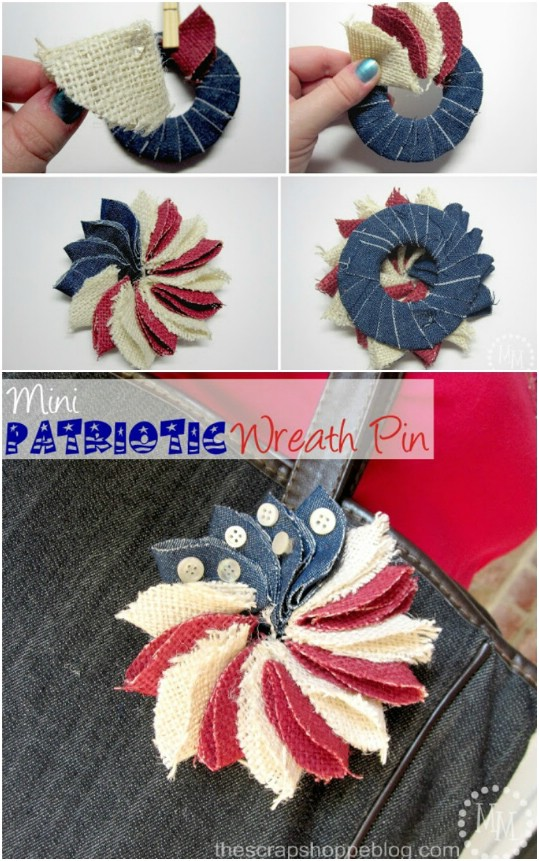 Denim And Burlap Patriotic Wreath Pin