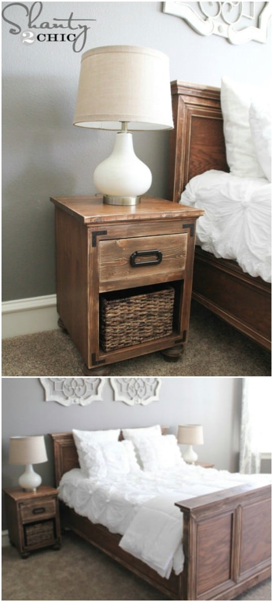 DIY Wooden Nightstand With Bun Feet