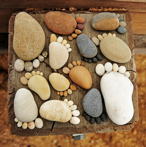 Whimsical Footprint Rock Décor