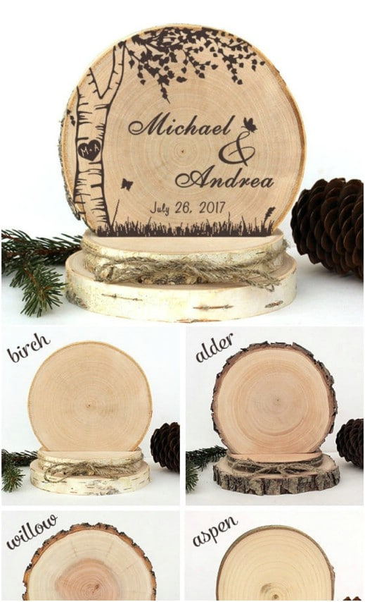 Birch Wood Wedding Cake Topper