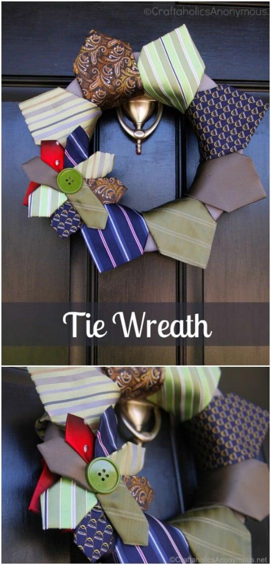 Repurposed Necktie Wreath
