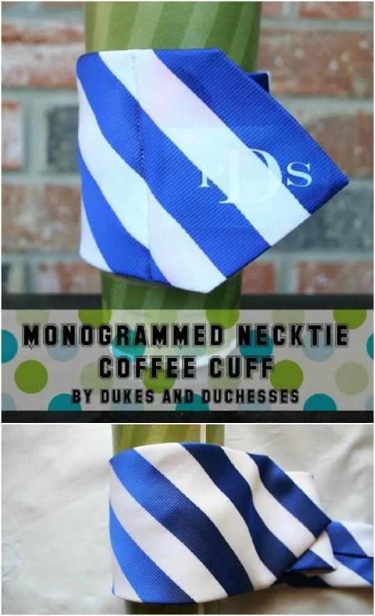 DIY Monogramed Necktie Coffee Cuff