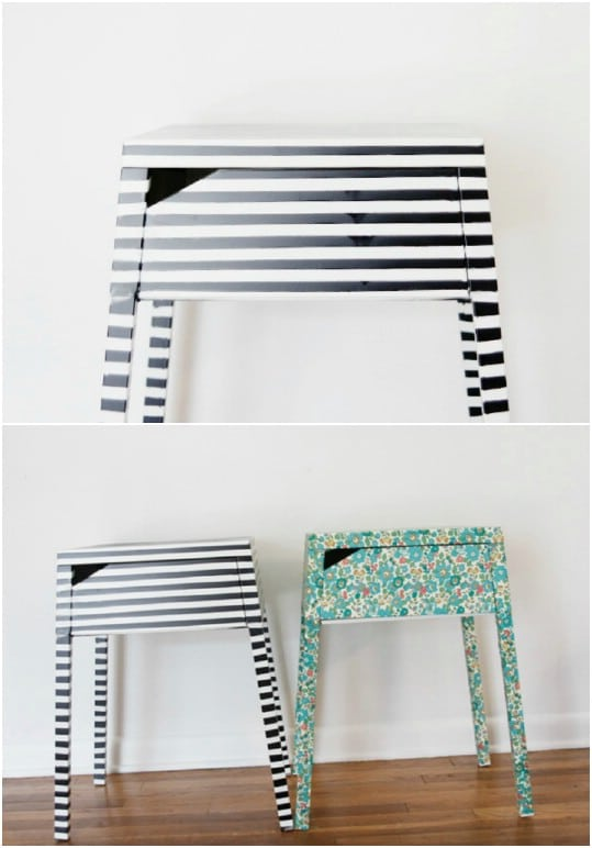 IKEA Hack Striped Nightstand