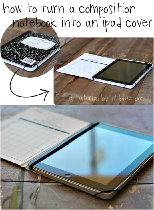 Repurposed Composition Book iPad Cover