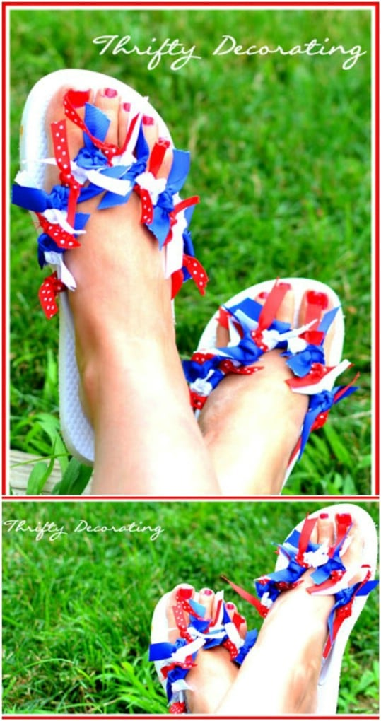 Fourth Of July Ribbon Flip Flops