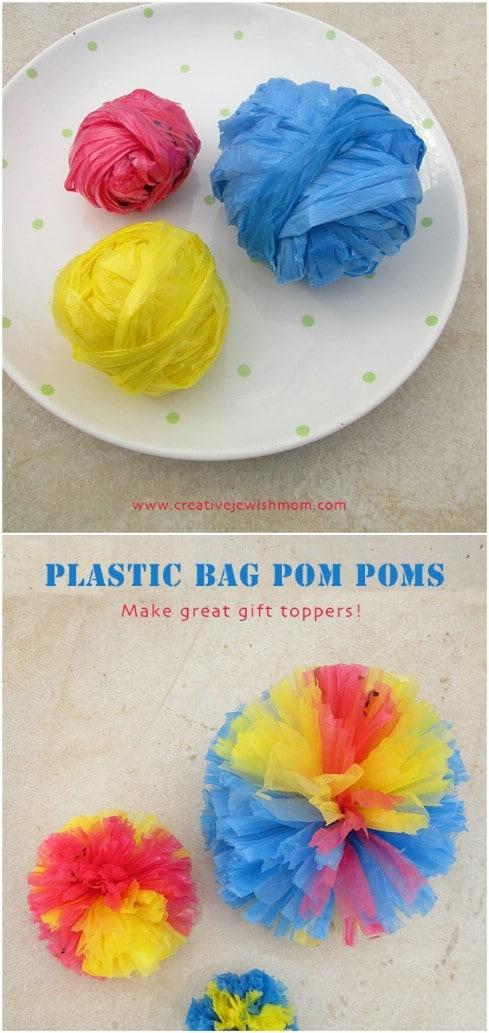 Upcycled Grocery Bag Pom Poms