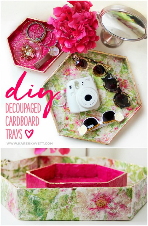 DIY Decoupage Cardboard Trays