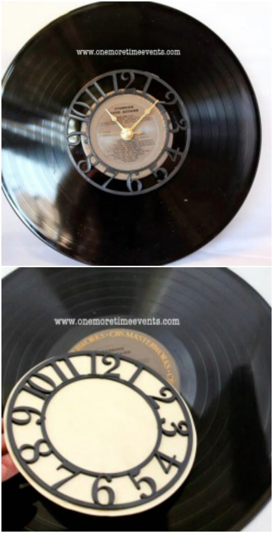 Repurposed Vintage Record Clock