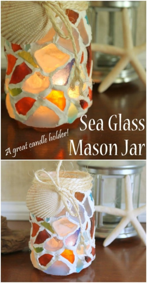 Sea Glass Mosaic Mason Jar Luminaries