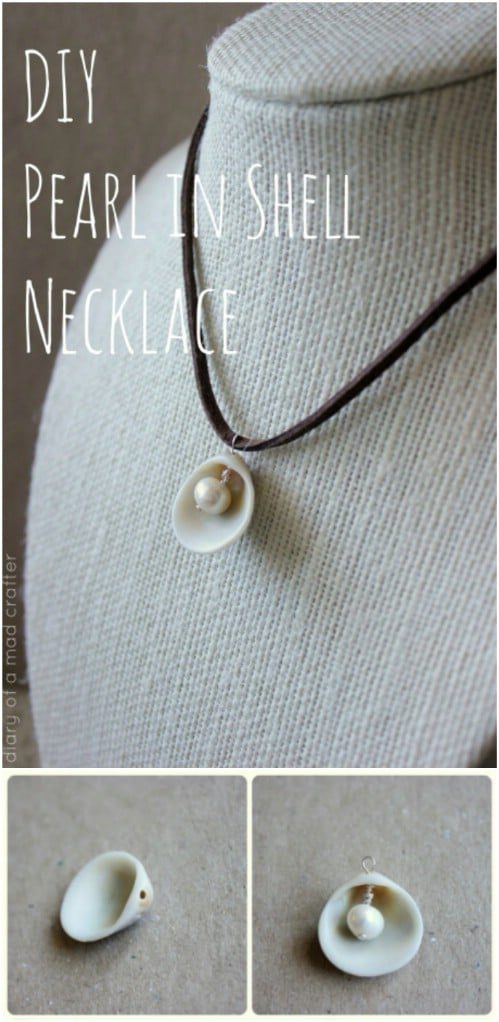 DIY Pearl In Seashell Necklace