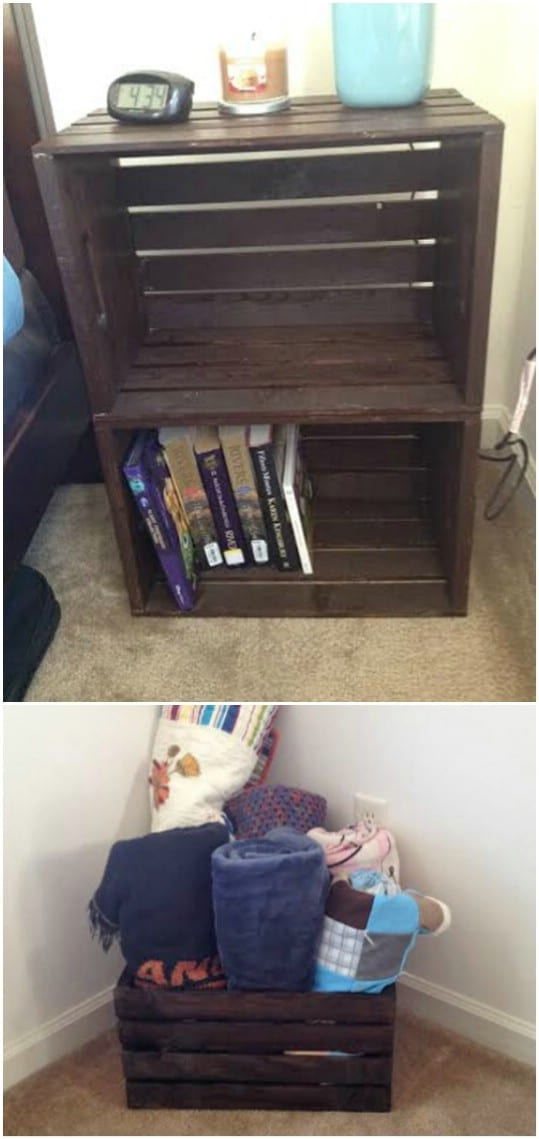 Repurposed Wooden Crate Nightstand