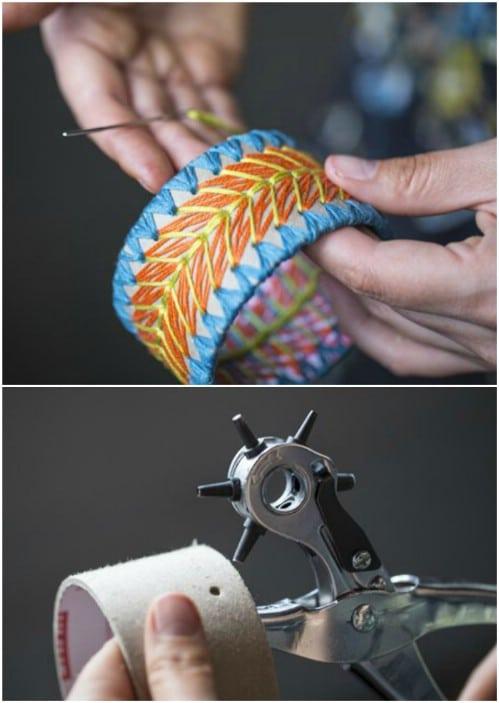 DIY Embroidered Cardboard Bracelet