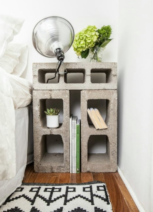 Repurposed Cinder Block Nightstand