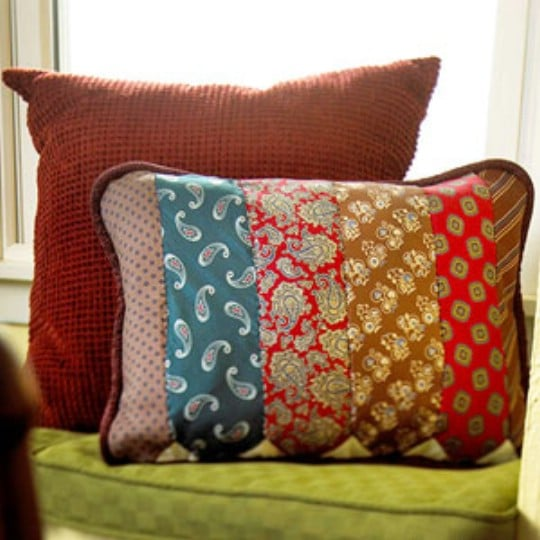 Repurposed Necktie Throw Pillow