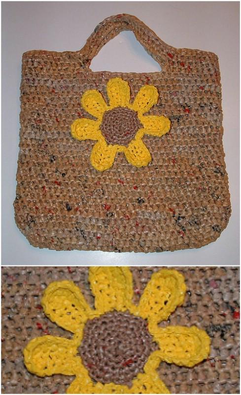 DIY Plarn Sunflower Tote
