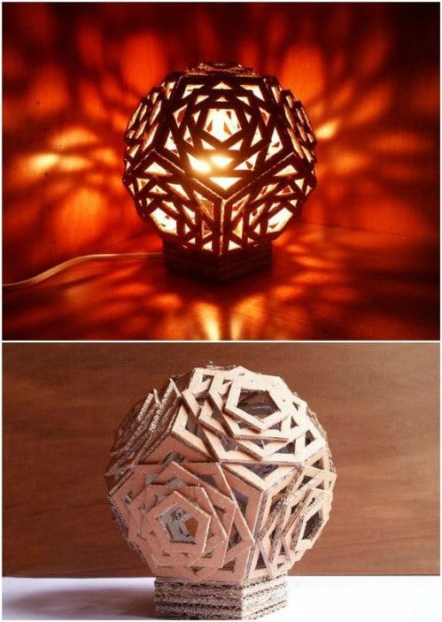 DIY Geometric Cardboard Lamp