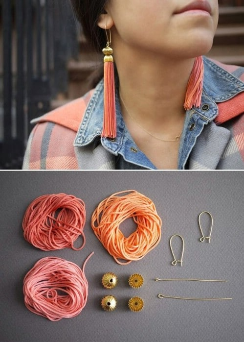 DIY Dangling Tassel Earrings
