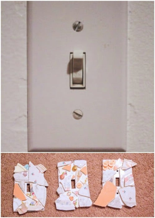 DIY Vintage Plate Covered Light Switch