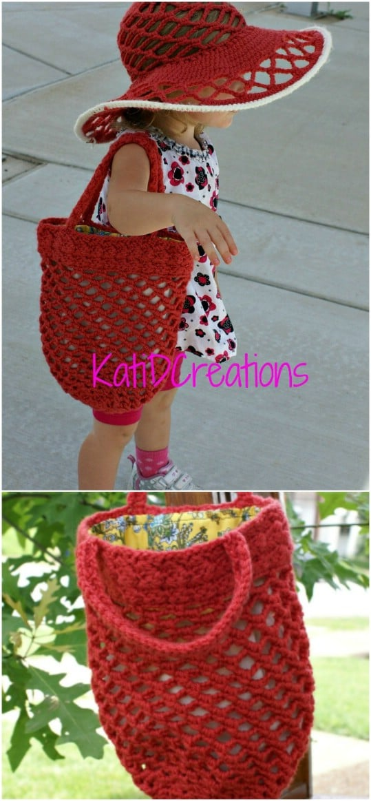 Lined Crochet Beach Bag