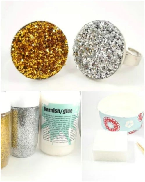 Easy Glitter Statement Ring