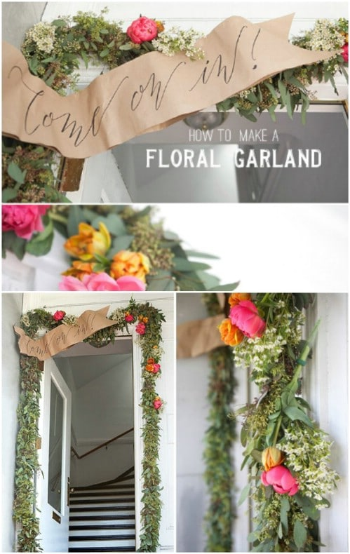 Summer Floral Garland And Welcome Banner