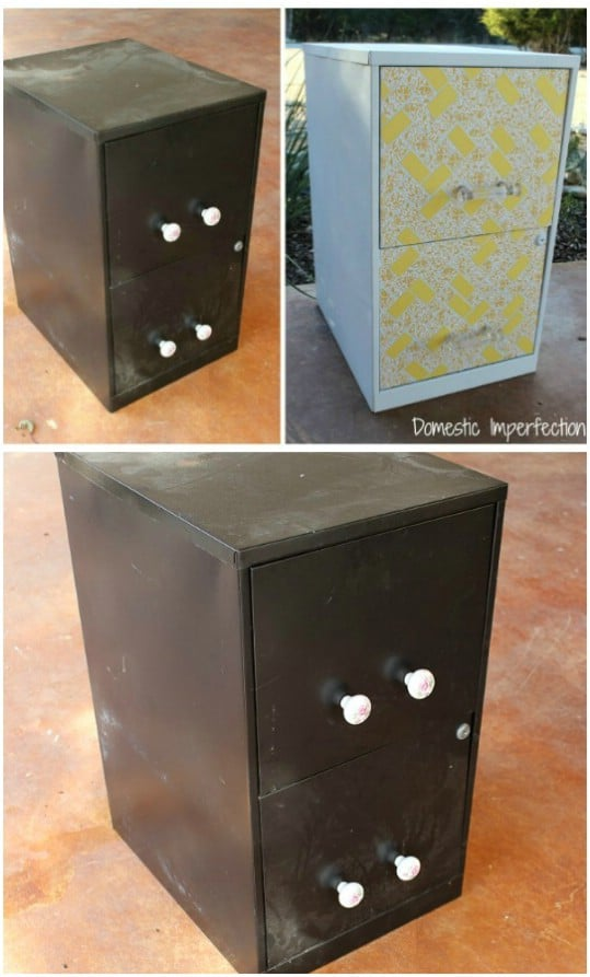 Repurposed Filing Cabinet Night Table