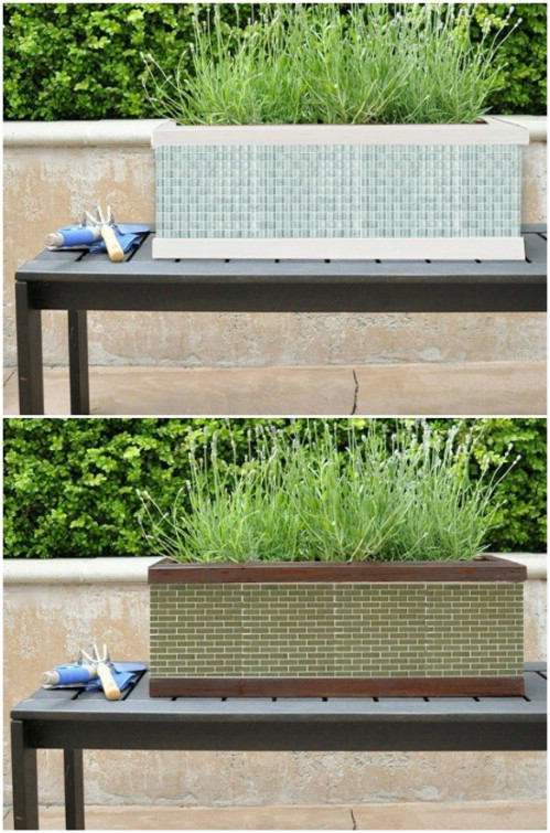 Mosaic Tile Window Box Planter