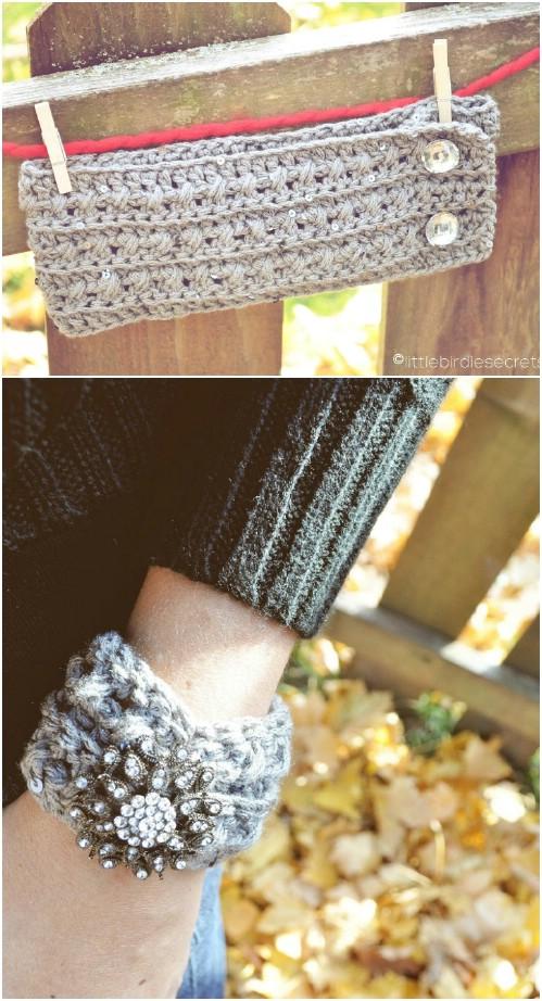 DIY Crisscross Crochet Headband With Matching Cuff