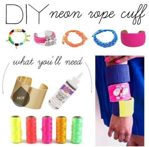 Neon Rope Cuff Bracelet