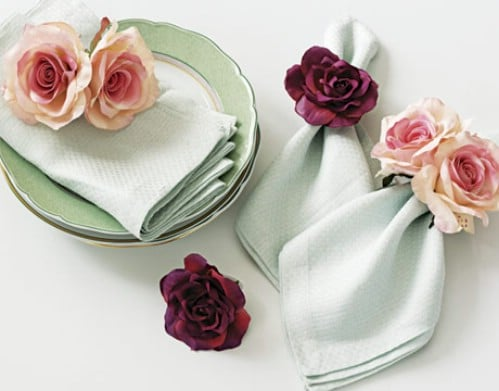 Fresh Or Silk Flower Napkin Rings