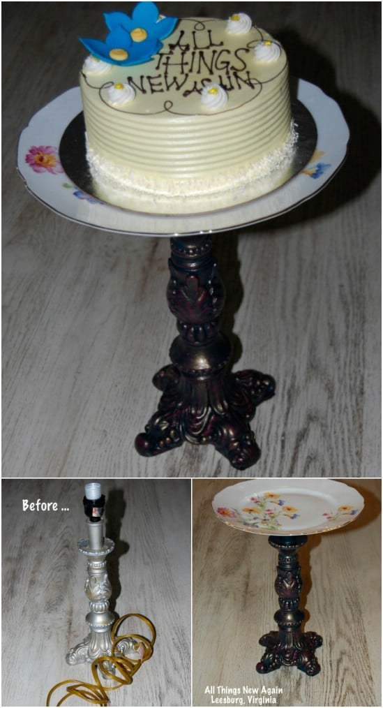 Repurposed Lamp Cake Plate