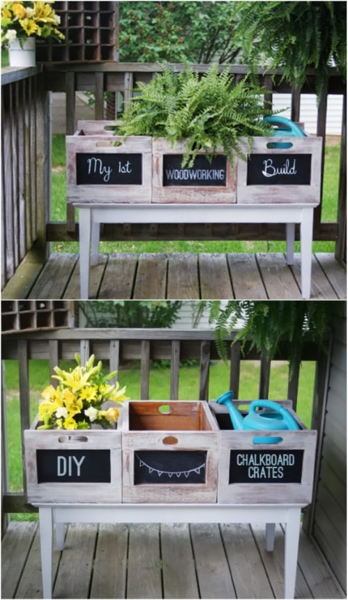 Summer Flower Chalkboard Crates