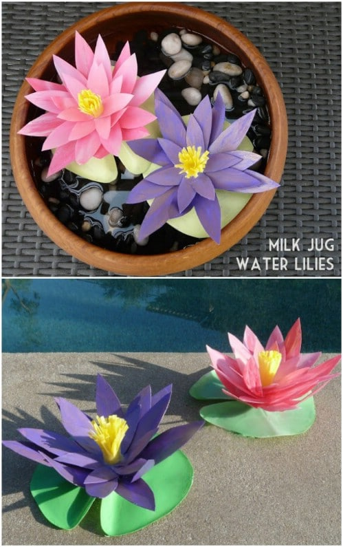 Upcycled Milk Jug Water Lilies