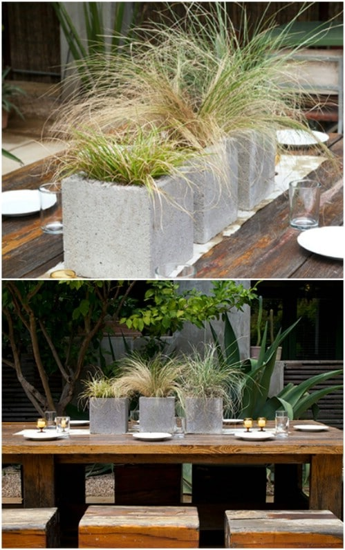 Cinderblock Porch Planters