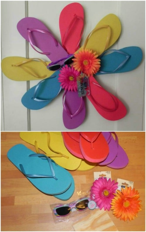 Colorful DIY Flip Flop Starburst Wreath