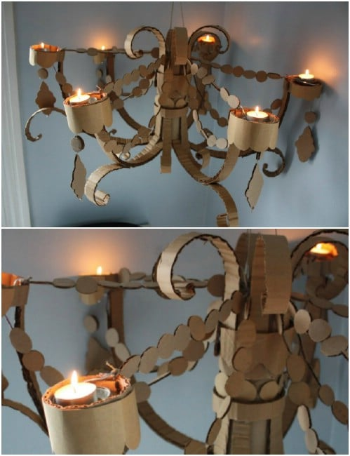 Cute DIY Cardboard Chandelier