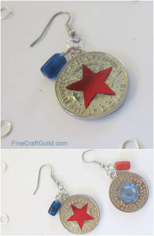 Patriotic Coin Charm Earrings
