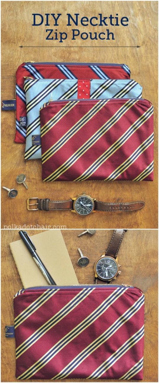 Easy DIY Zippered Necktie Pouch