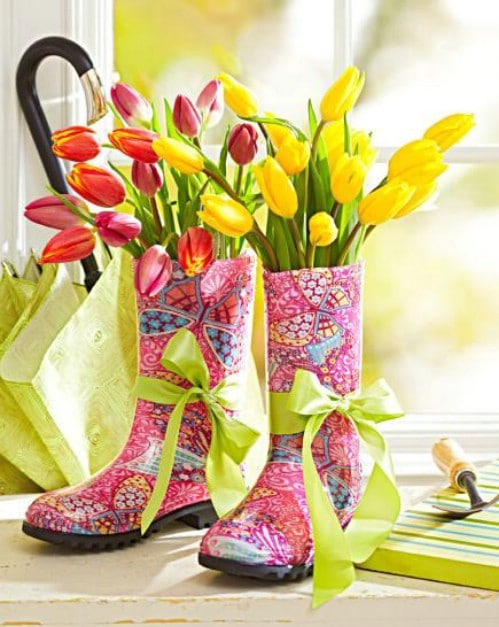 Colorful Rain Boot Planters