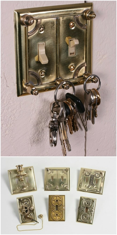 Steampunk Inspired Light Switch Plates