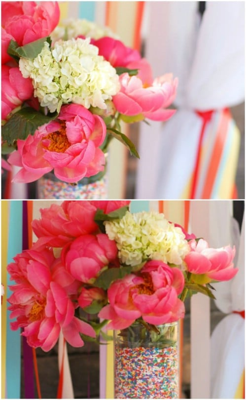 DIY Sprinkle Lined Vases