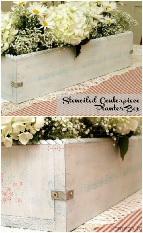 Stenciled Planter Box With Summer Blooms