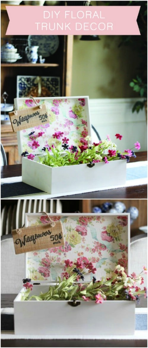 DIY Floral Trunk Flower Display