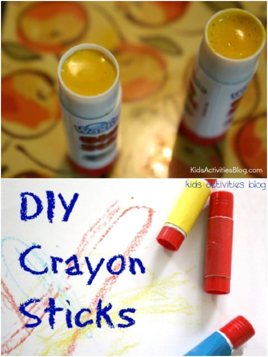 Repurposed Glue Stick Crayons